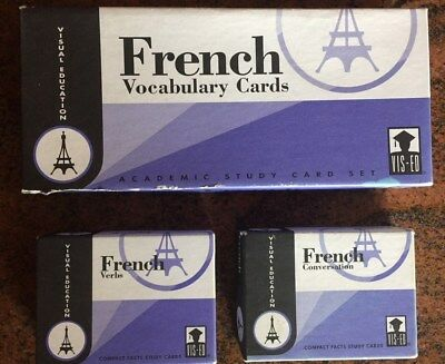 French Cards, 3 boxes (Vocabulary, Verbs, Grammar), Visual Education, CARDS
