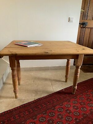 Antique Victorian Pine Kitchen Dining Breakfast Table