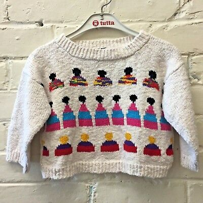 Vtg toddler cotton Sweater Bubble And Squeak Beverly Hills Hand Loomed