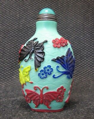 Special Chinese Glass Carve Five Colours And Butterfly Design Snuff Bottle/''''