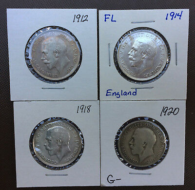Lot of 4 Great Britain ONE FLORIN Silver Coins* 1912* 1914* 1918* 1920