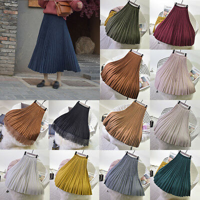Womens Pleated Skirt Retro High Waist Suede Skirt Full Length Chic Elastic Dress