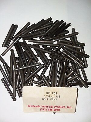 """Slotted Roll Spring Pin, Med.Carbon Steel 5/32"""" Dia x 1 3/8"""" Length,100 pins Lot"""
