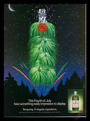 1989 Print Ad~Tanqueray~Gin~Fourth of the July~Fireworks Bottle~1980s~K100