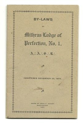 1903 Washington Dc Booklet For The Mithras Lodge Of Perfection - Masons