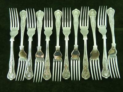 12 Vintage EPNS Fish Forks kings pattern silver plated mixed makers