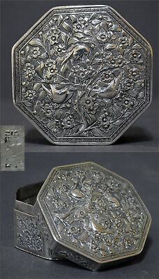 Collectible Octagonal Antique Chinese Export Silver Jewelry Toilette Box