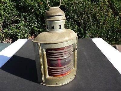 Brand New Old Stock, Antique Perko De Lite Marine Lamp, Silver With Red Lens