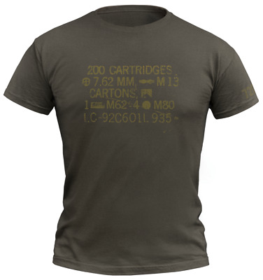 720gear T-Shirt Warrior NATO 7,62 Ammo Army Oliv Olive Green Moral