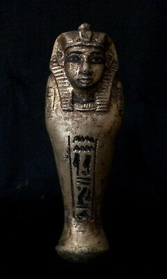 EGYPTIAN ANTIQUES STATUE KING Ushabti Shabti Mummy Carved Stone Gold Paint B.C