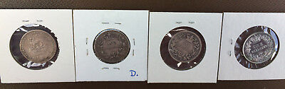 Lot of 4 Great Britain 1826, 1834, 1835, 1866* One Shilling Old Silver Coins