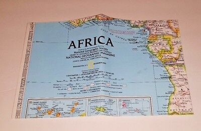 NATIONAL GEOGRAPHIC wall map 1990 AFRICA FREE SHIP Large Colorful NG