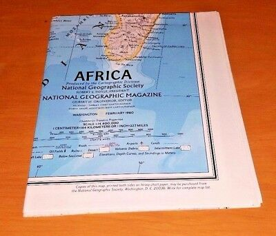 NATIONAL GEOGRAPHIC wall map 1980 AFRICA FREE SHIP Large Colorful