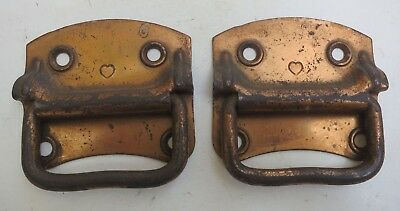 Pair of Heavy-Duty Antique Plated Chest or Trunk Lifts 3-Inches Wide and High