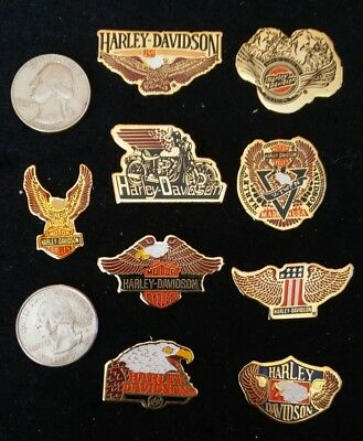 HARLEY DAVIDSON HD PIN BACKS Vintage Lot of 9 OFFICIALLY LICENSED BY BARON 1991