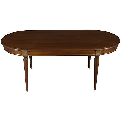 French Antique Oval Empire Style Dining Room Table Seats Eight Mahogany w Brass
