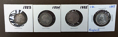 Lot of 4 Great Britain Silver ONE SHILLING Coins* 1883, 1884, 1885, 1887