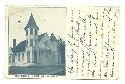 1909 Utica Mississippi View Of The White Frame Baptist Church - Postmark