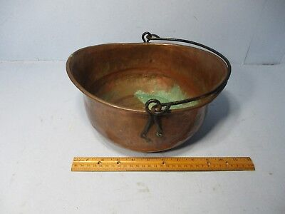 "10 1/2"" Vintage hammered Copper oval  Planter, Metal Flower Pot, Plant Holder"