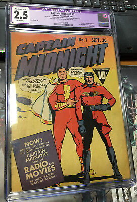 Captain Midnight 1 Fawcett Golden Age  Captain marvel Cover CGC 2.5 Restored c-3