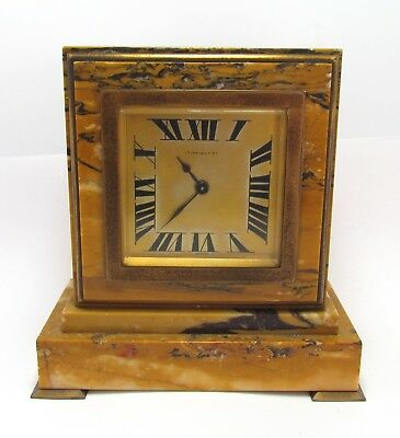Tiffany & Co CH, Hour Antique Art Deco French Marble Brass Mantle Desk Top Clock