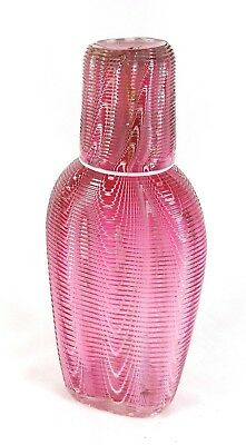 Beautiful Victorian antique Nailsea hand blown cranberry Glass Flask cup