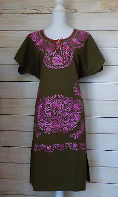 Women's Mexican Dress X-Large Large Forest Green Peasant Handmade Embroidered