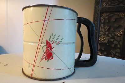 Vintage Bromwell's Retro Mid Century Red and White Flour Sifter