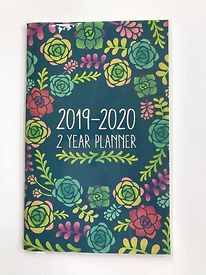 2019-2020 Two-year Monthly Planner Calendar Appointment Book,  5x8 Green Roses