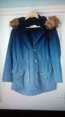 Dorothy Perkins blue Maternity Parka/hooded Coat Size 14 Immaculate