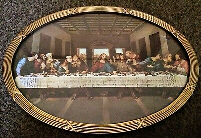 Vintage Home Interior Last Supper Picture Oval Frame 4900 Picclick