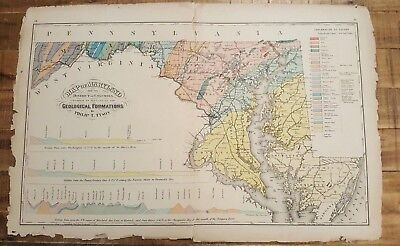 Antique, Colored MAP OF MARYLAND & DC / 1873 Topographical Atlas