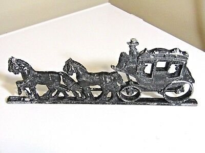 vintage RUSTIC  cast aluminum HORSE DRAWN BUGGY / WAGON  Amish Wall Fence Figure