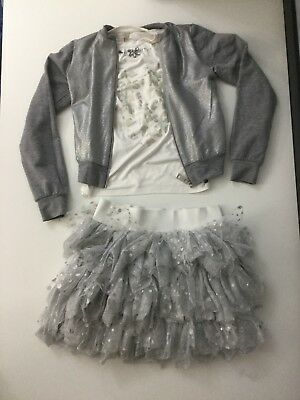 Miss Grant Girls 3 Piece Set Outfit Grey Silver Size 36 Skirt Top Jacket Jumper