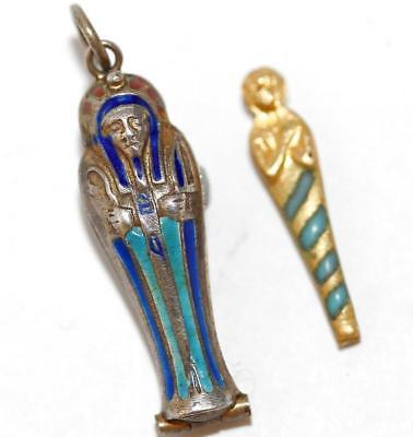 Antique Vintage Opening Egyptian Sarcophagus And Mummy Enamel Silver Charm 1920s