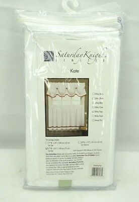 "Saturday Knight Ltd. Kate 57"" x 36"" Tier Curtain Pair White Sage Trim T2"