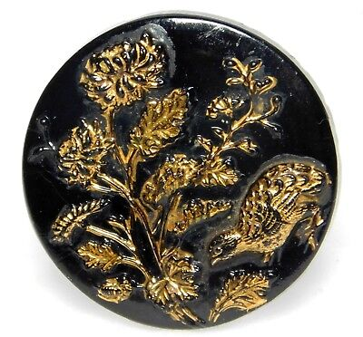 Antique VINTAGE Hand painted Black GLASS Quail in Flowers  Button 1 & 1/16 A56
