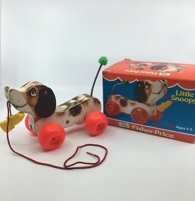 MINT 1982 Fisher-Price Little Snoopy Pull Toy 693 + Original Box ~ String Dog