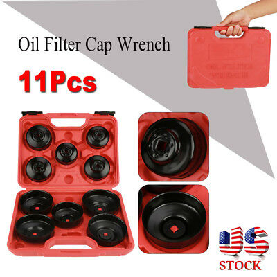 11pcs Cap Cup Type Oil Filter Remover Wrench Tool Set Removal Socket Set Kit USA