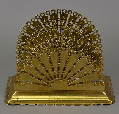 Antique Brass Fan-Form Letter Holder / Rack - English, Victorian Hall Accessory