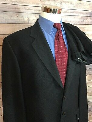 Joseph Abboud Black Birdseye Classic Fit 3 Button Wool Suit Men's Size 46L 34x30