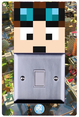 Dan TDM Minecraft Girls Boys Children Room Light switch Surround Sticker-LSW05
