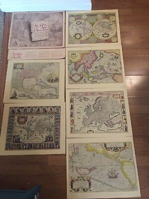 "Vintage ""Maps of Ancient Times"" Colored Lithograph Set of 6"