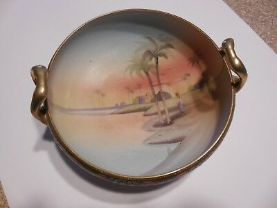 Antique Hand Painted Bowl with handles Nippon Green Wreath gold trim Beautiful