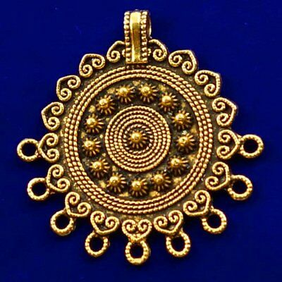 Carved Brass Bronze Round Pendant Bead 39x4mm L90564