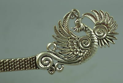 Collectible China Culture Old Tibet Silver Carve Noble Phoenix Gift Hairpin Fine