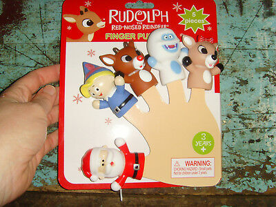 NEW Rudolph the Red Nosed Reindeer 5 Piece Christmas finger puppet set Santa