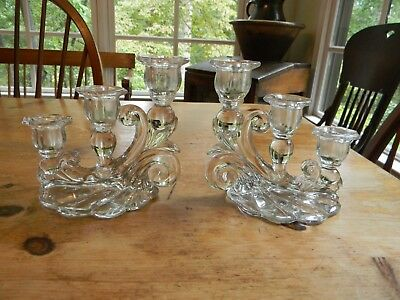 Vintage Pair of Antique Triple 3 Light Glass/ Crystal Cascading Candle Holders