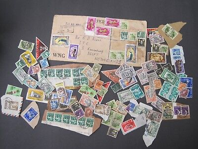 Nigeria Cover/Kiloware 75+ est stamps and used cover to Netherlands. 1960's