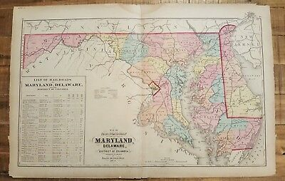 Antique, NEW RAILROAD MAP OF MARYLAND, DELAWARE & DC/1873 Topographical Atlas